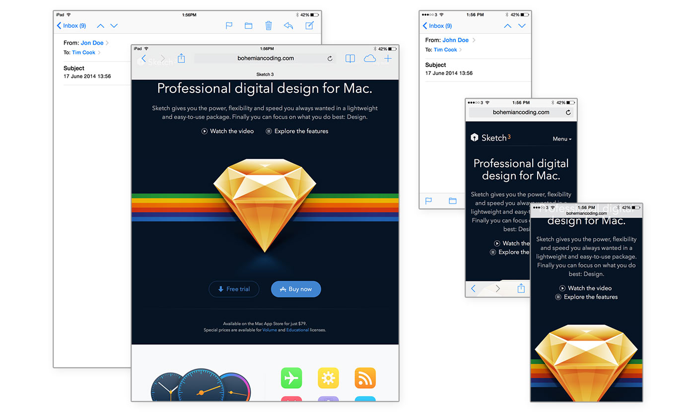 iOS7 Safari and Mail Sketch Templates